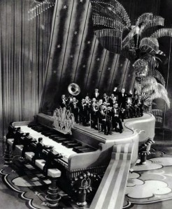 """Giant piano set from King of Jazz's """"Rhapsody in Blue"""" production number (1930, dir. John Murray Anderson) Art director: Herman Rosse"""