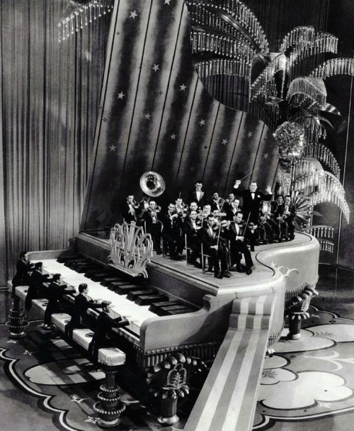 "Giant piano set from King of Jazz's ""Rhapsody in Blue"" production number (1930, dir. John Murray Anderson) Art director: Herman Rosse"